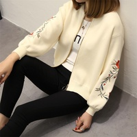 The New Spring Large Size Women Embroidered Sweater Long Sleeve Zipper Cardigan Coat F1761