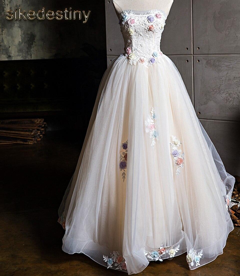 Sikedestiny Luxury Flowers Wedding Dresses 2018 Real