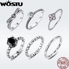 3973aaf31bfa WOSTU Venta caliente 925 anillos de plata esterlina para mujer europea boda  Original marca de moda anillo de regalo de la joyerí.