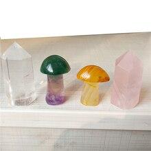С природными кристаллами камень сердолик флюорит гриб и прозрачный кварц Роза Кристалл башня точка медитации Рэйки, лечение чакры