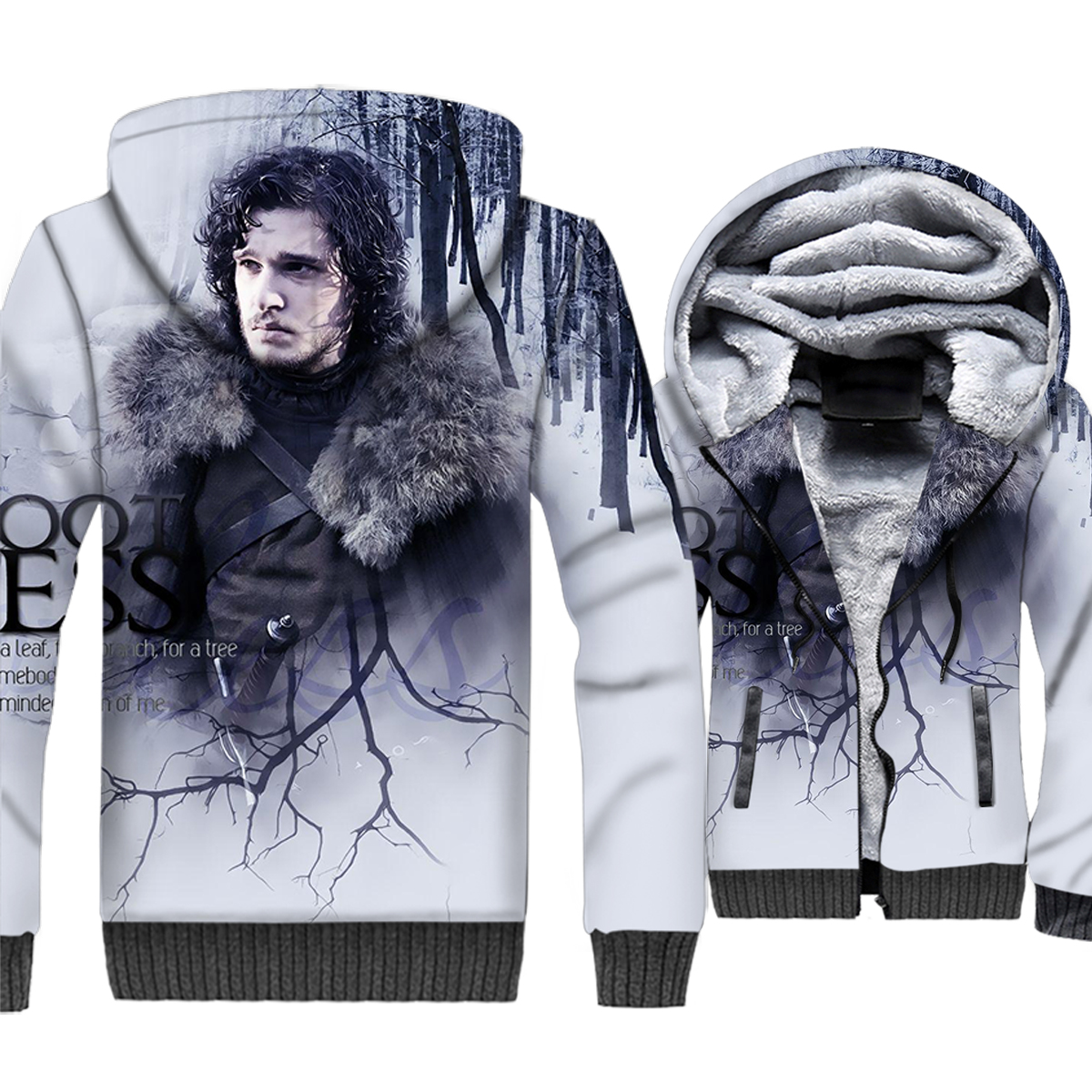 Jon Snow Jacket Men Game of Thrones 3D Hoodies House Stark Sweatshirt 2018 Winter Thick Fleece Warm Zipper Coat Brand Clothing