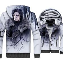 Jon Snow Jacket Men Game of Thrones 3D Hoodies House Stark Sweatshirt 2018 Winter Thick Fleece Warm Zipper Coat Brand Clothing цены