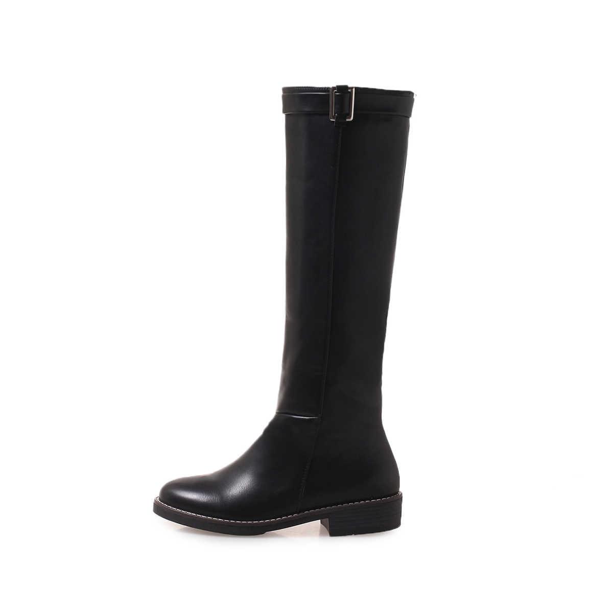 แบนเข่ารองเท้าบูทสูง Pu หนังส้นรองเท้า Slip On ฤดูใบไม้ร่วงฤดูหนาวแฟชั่นรองเท้ารองเท้าผู้หญิง plus ขนาด 43 2018