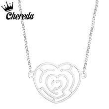 Chereda 1pc Fashion Stainless Steel Necklace Cute Hollowed Heart Pendant Girls Chokers Statement Lucky Girl