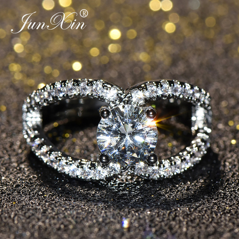 JUNXIN Unique Leaf Engagement Ring Luxury Cubic Zirconia Promise Wedding Rings For Women Fashion White Gold Filled Jewelry