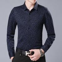 2018 Business Velvet Turn Down Fleece Shirt Long Sleeve Pattern Dobby Blouse Camisas Para Hombre Warm