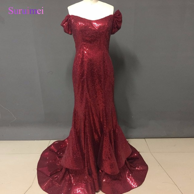 29796ba9d14 Gorgeous Wine Red Sequin Long Evening Dress 2017 New Fashion Off Shoulder  Short Sleeves Party Dresses Formal Mermaid Prom Gowns