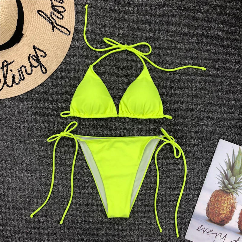 Bikinx Neon bikini thong biquini High cut swimwear women Sexy push up brazilian swimsuit female bathing suit Micro bikini 2019