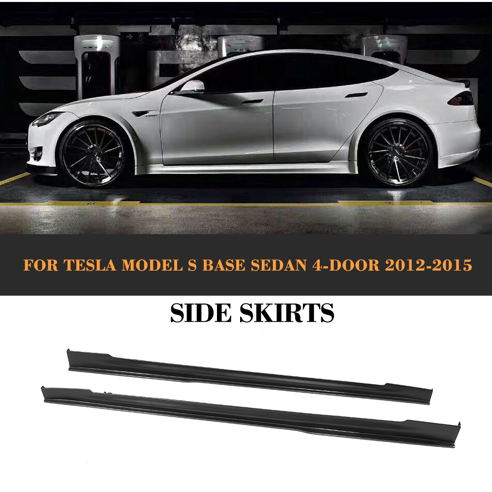Kit de protection de porte en Fiber de carbone, protège-menton, jupes latérales, tabliers pour Tesla Model S berline 4 portes 12-15 70 70D 85 85D P85D 2 PC
