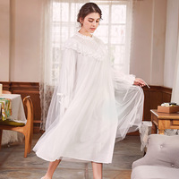White Lace Women Retro Nightgown Palace Princess Sleeping Dress Nightdress Royal Cotton Sleepwear Long nightwear Spring Summer
