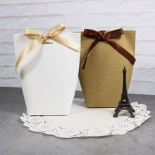 5pcs Blank Kraft Paper Bag White Black Candy Bag Wedding Favors Gift Box Package Birthday Party Decoration Bags with Ribbon(China)