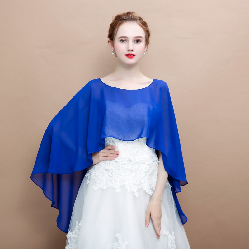 Soft Chiffon Women Cape High Low Sheer Summer Beach Wedding Wrap Bridal Bridesmaids Cover Up Shawl Soild Color