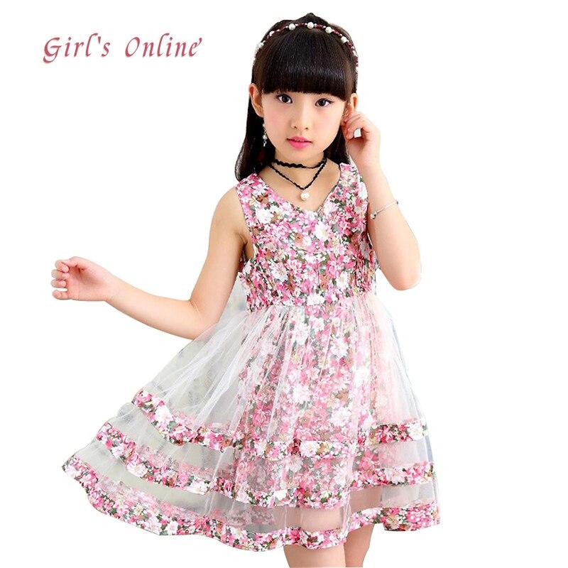 0cbf07b9fe3 Girls Dress 2018 New Fashion Mesh Summer Kids Dresses For Girls 3 4 5 6 7 8  9 10 11 12 Year Children Flower Clothing