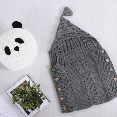50*80cm Big Knitted Baby Blanket Newborn Swaddle Wrap Infant Girl Boys Knit Crochet Cotton Sleeping Bag Winter Sweater Swaddling