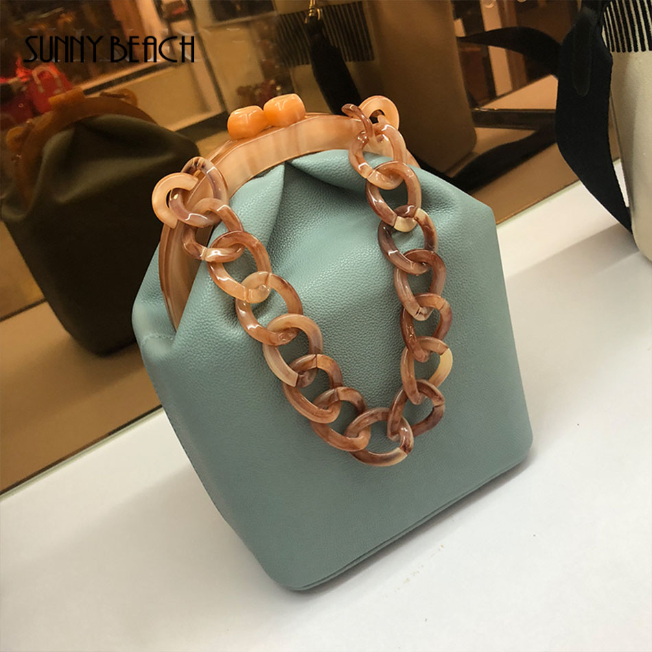 Women Luxury Acrylic Chain Handle Bucket Bags Box Tote Handbag Messenger Bag Crossbody Clutch for Woman Spring Bag PU Leather handbag