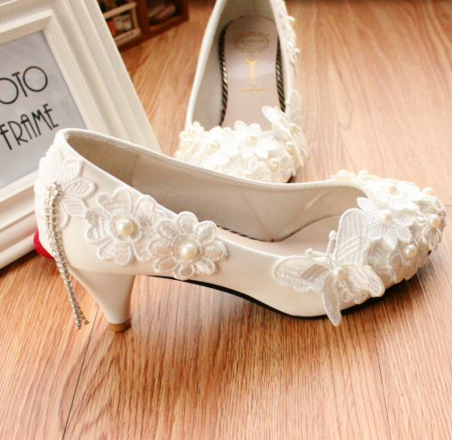ФОТО Newest!  Fashion new design womens wedding shoes custom make different heel PR652 bridal bridemaids party pumps tassel lace shoe