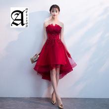2019 New Spring Evening Dress Short Front Long Back Strapless Prom Applique Flower Sexy Backless Banquet Dresses