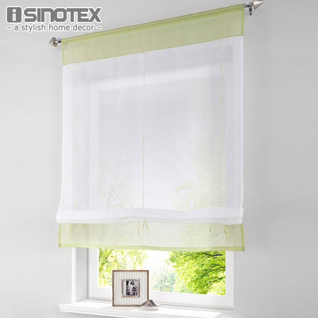 Pastoral Roman Curtain Solid Sheer Window Tulle Curtains