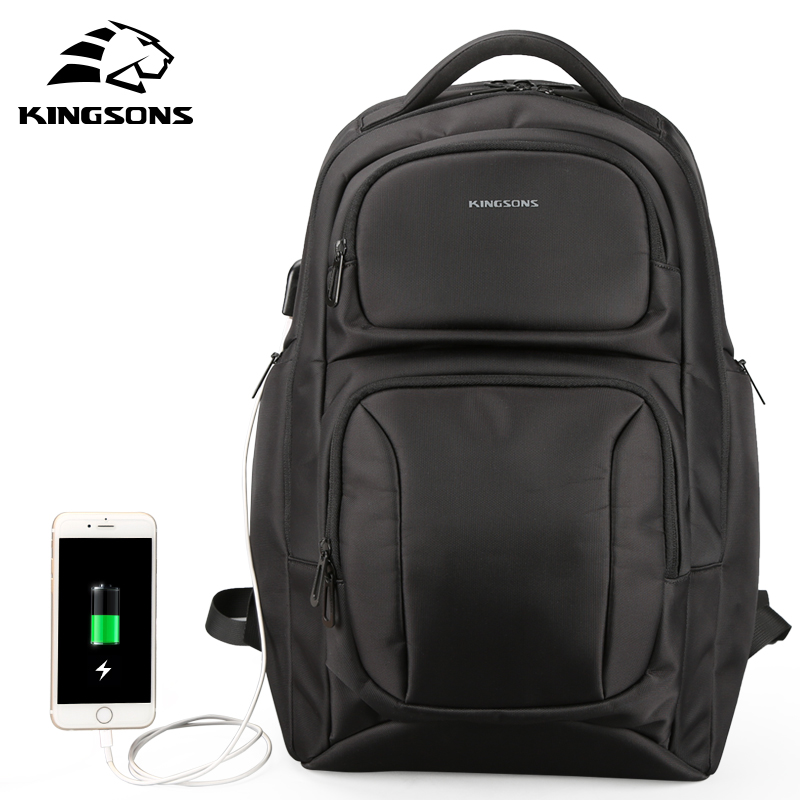 Kingsons 2017 New Men Backpack Anti-theft &USB Charge Laptop Backpack 15.6 inch Women School Bags for Teenagers Boys Girls 2018 tigernu new arrival laptop backpack 15 6 inch usb charge for men