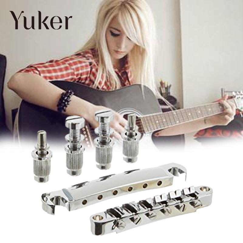 Yuker LP Electric Guitar Tune-O-Matic Bridge & Tailpiece Set Replacement Parts Silver kaish lp tune o matic roller saddle bridge tailpiece stopbar set for lp gold