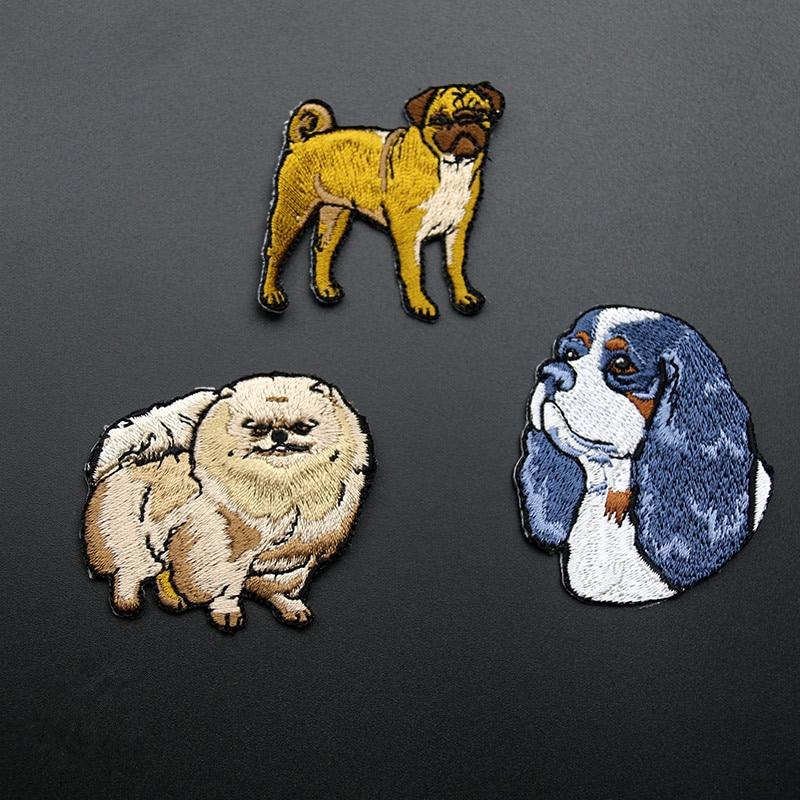 1 հատ հատ փափուկ լակոտ կարկատել փոքրիկ շներ պոմերանյան կարկատակներ սոսինձ երկաթով հետևի տիպի կենդանիների կպչուն հագուստի համար