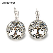 Hot! 2017 Tree of Life Flower Stud Earrings Vintage Tree of Life Cabochon Celtic Glass Earrings for Women Jewelry Gifts