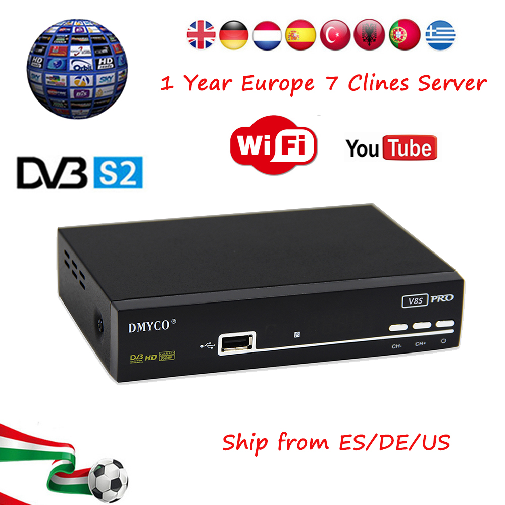 V8S PRO Satellite Receiver same as V8 super DVB-S2 Full HD 1080P V8S-PRO receptor decoder+Free one year 7 Clines Europe server v8 super satellite receiver dvb s2 full 1080p usb wifi biss key newcamd youtube powervu 1 year europe 7 clines server hd