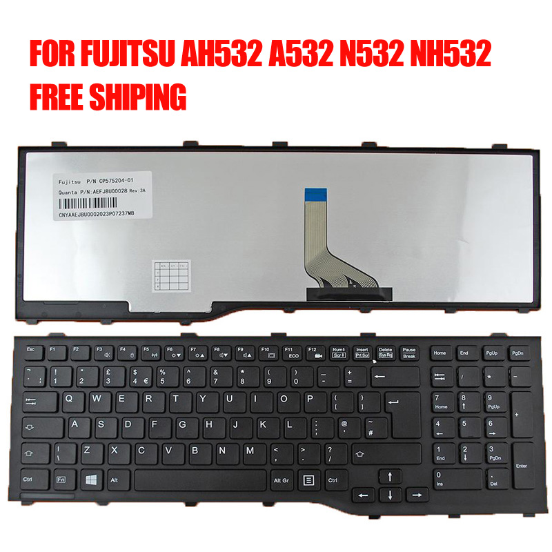 New UK Laptop Keyboard for FUJITSU Lifebook AH532 A532 N532 NH532 BLACK FRAME For Win8 Replacement United Kingdom