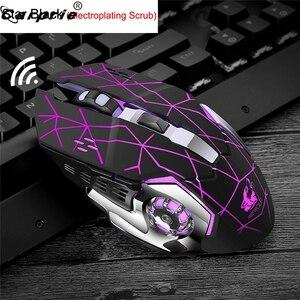 Image 2 - Wiederaufladbare X8 Wireless Gaming Maus 2400DPI Stille Noiseless LED Backlit USB Optische Ergonomische Gaming Mäuse Stumm 90214