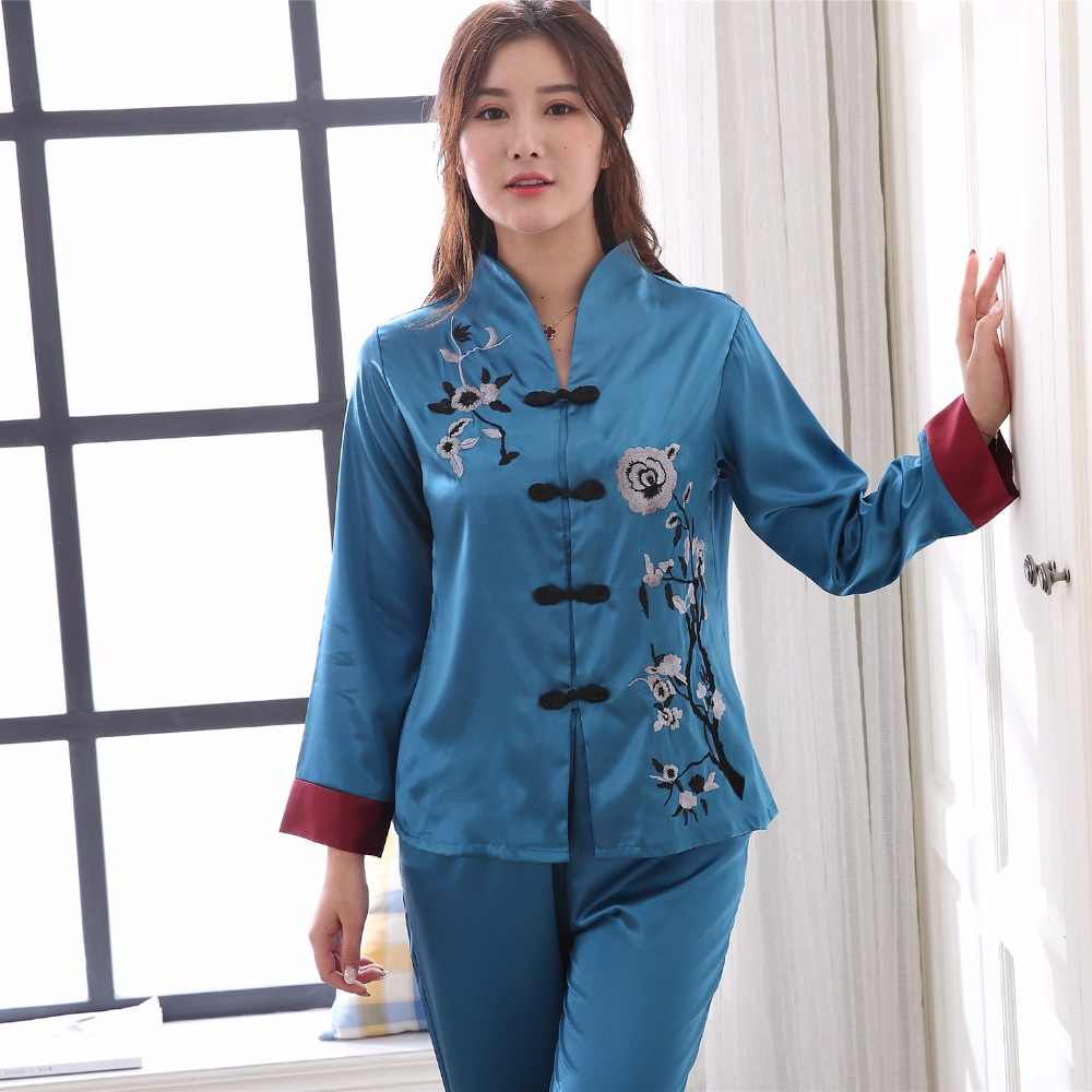 64386b8b4d467 ... Chinese Style Red Embroidery Lady Pajamas Set Spring Autumn New Satin  Sleepwear 2PCS Women Floral Pyjamas ...