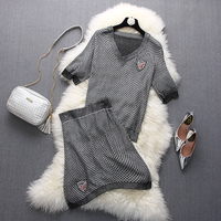 [Alphalmoda] Alpha customization Crystal 7 Badge Women Thin Knitting Skirts and Tops 2pcs Suits V-neck Short-sleeved Casual Set