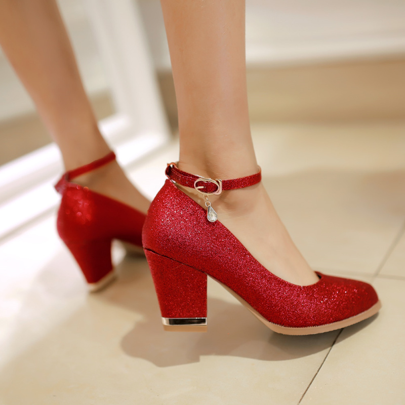 red wedding shoes high heels thick round head bride wedding dress shoes silver bridesmaid crystal pumps
