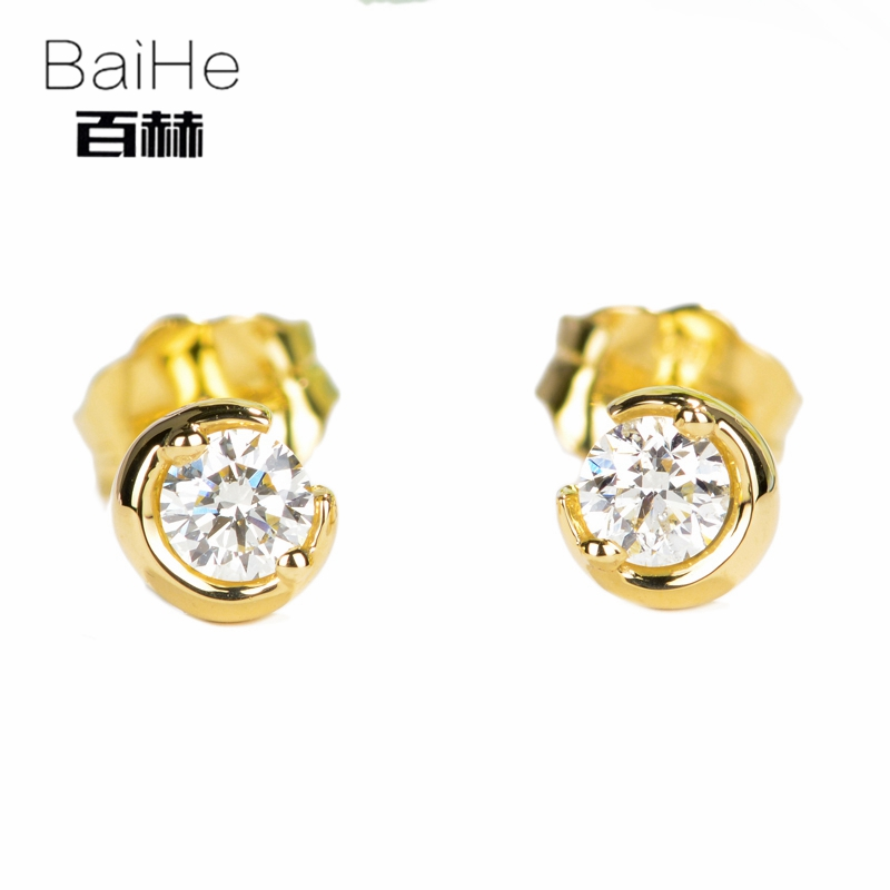 BAIHE Solid 14K Yellow Gold 0.16CT H/SI Round cut 100% Genuine Natural Diamond Wedding Trendy Fine Jewelry Elegant Stud Earrings 14k yellow gold over 2 ct d vvs1 round cut stud earrings