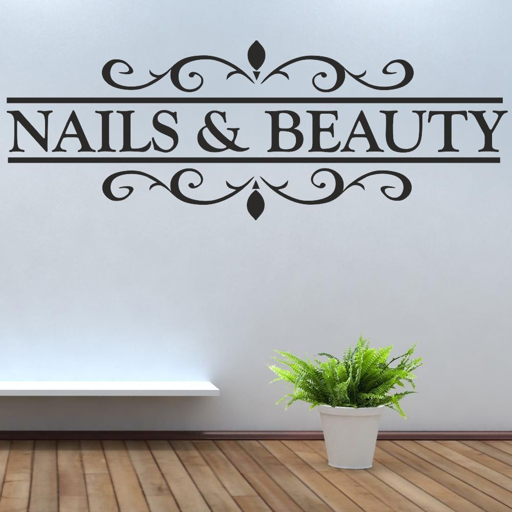 DCTAL Nail Bar Salon Sticker Girl Spa Decal Masaje Carteles Vinilo Tatuajes de pared Decoración Mural 25 Color Elija Nail Salon Sticker