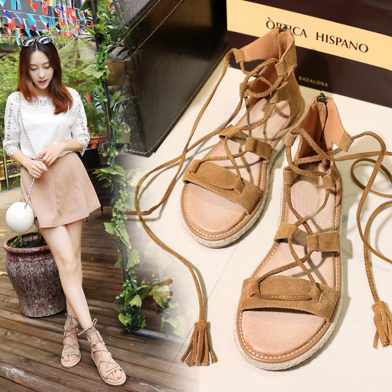 2017 New Summer Fashion Women Gladiator Shoe Genuine Leather Lady Leisure Fringe All-match Breathable Black Bandage Beige Sandal all summer long