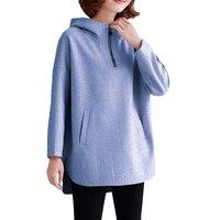 2019 Spring New Wool Sweatshirt Women's long Products Plus size Hooded Sweatshirt Women's loose Thick Warm Hoodies Coat 3XL F14