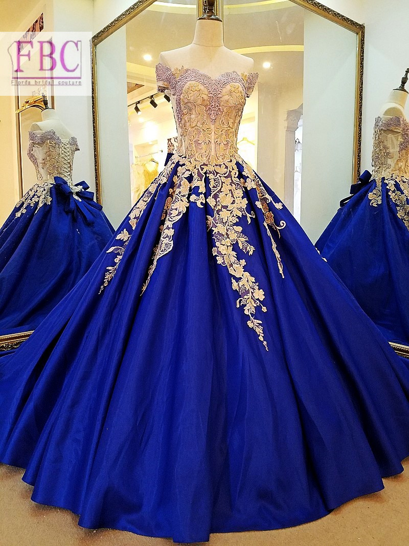 2018 Real Picture Royal Blue Prom Dresses Gold Appliques Puffy Evening Dresses Party Gowns Robe De Soiree