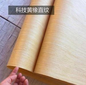 Image 2 - 6 peças/lote l: 2.5 medidores largura: 55cm espessura: tecnologia de 0.25mm em linha reta grão amarelo carvalho casca folheado de madeira