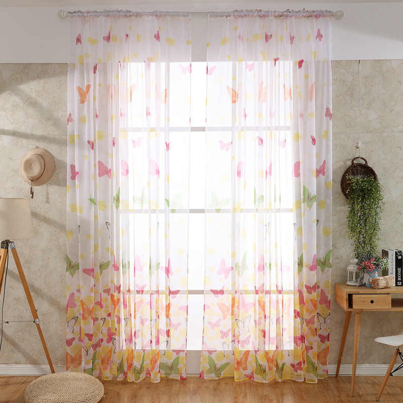 1PC 1M*2M Hot selling Butterfly Print Sheer Window Panel Curtains Room Divider New for living room bedroom Sun-shading Curtain