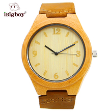 IBigboy Clásica De Madera De Bambú Deportes de La Moda Relojes Correa de Cuero Del Cuarzo de Japón Reloj de Pulsera IB-1600Dd