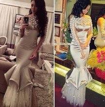 Neue Schönheit Appliqued Nixe Abendkleid Bodenlangen Boot-ausschnitt Faltenpartykleid Regelmäßige Langen Ärmeln Satin Perlen Vestidos