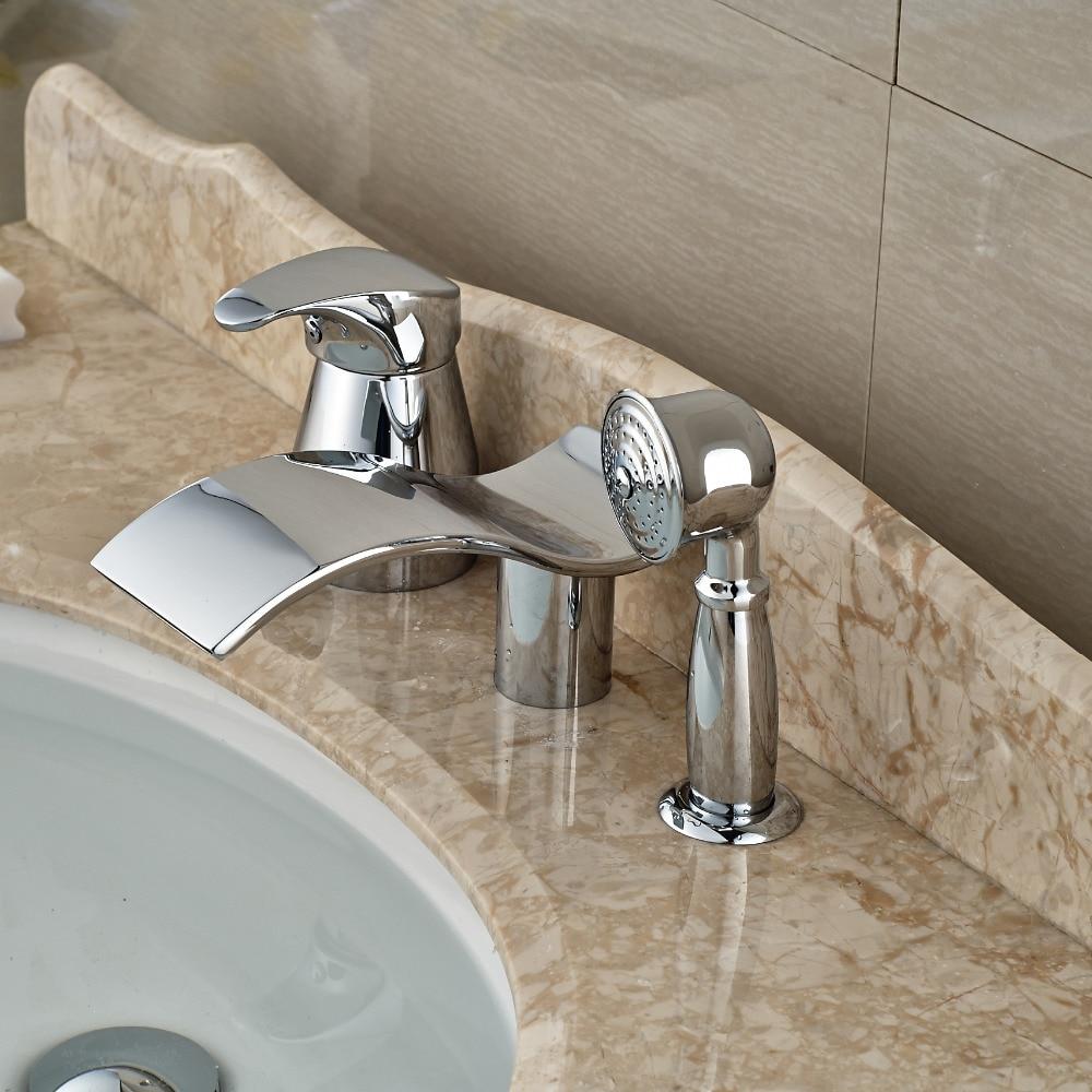 Single Handle Widespread Waterfall Bathroom Tub Faucet Deck Mount Brass Bathtub Mixer Water Taps Chrome Finish