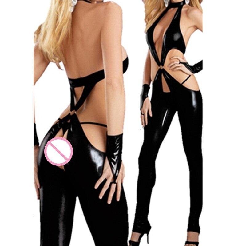 Women Black Zipper Top Chaps PVC Leather Bodysuit Adult Sex Hollow Out Catsuit Deep V Jumpsuit Sexy Leather Outfit