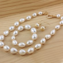 Women Gift word 925 Sterling silver real New natural irregularly shaped pearl necklace, large set of threaded 14-15mm bracelets,
