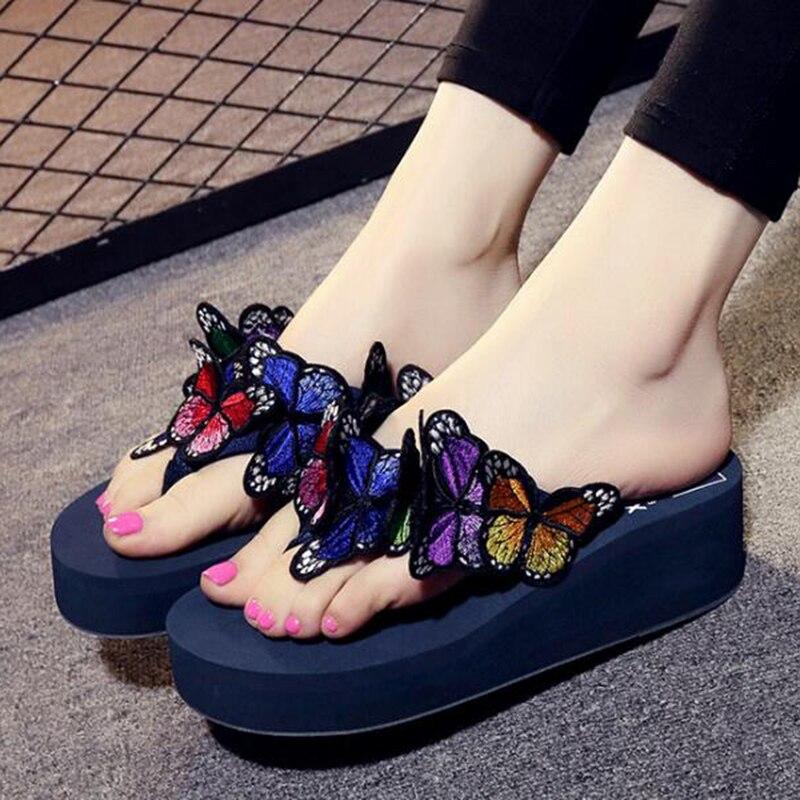 f375d3097c922 ... garden shoes handmade butterfly 2017 new wedge flower sandals garden shoes  handmade butterfly slippers hawaiian beach sandals summer women flip flops  ...