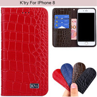 K Try Alligator Genuine Real Leather Phone Case Luxury Elegant Glossy Business Cover For IPhone 8