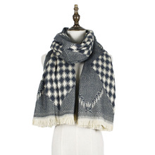 jzhifiyer YX169 235g Designer Rhombus Twill Scarf Winter Ladies Long Cashmere Shawl Women