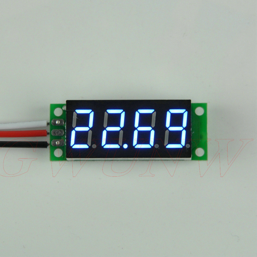 GWUNW BY436BV DC 0-30.00V(30V) 0.36 inch 4 bit Micro Voltage Tester Meter digital display LED Voltmeter No shell gwunw by456v dc 0 30 00v 30v 4 bit digital voltmeter panel meter red blue green 0 56 inch voltage tester meter