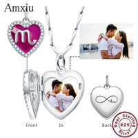 Amxiu Custom Photo Personalized 12 Constellations Pendant 925 Sterling Silver Charms Jewelry For Women Girls Birthday Party Gift