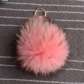 Пушистый лиса помпонами брелки подлинная пушистый сумочка шарм брелок-натуральная кожа кольцо для ключей большой 13 см сек лисий мех мяч мешок очарование